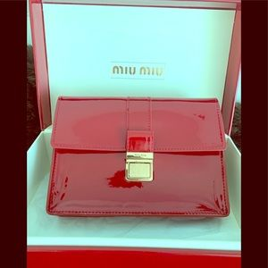 Brand New Miu Miu red clutch